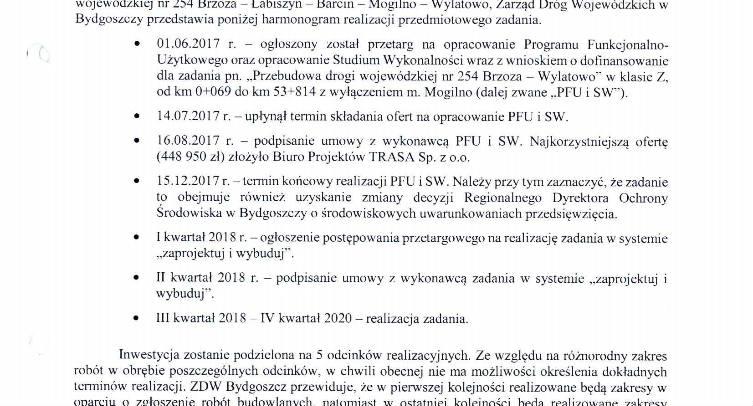 Pismo Zarządu Dróg Wojewódzkich w Bydgoszczy dotyczące przebudowy drogi wojewódzkiej nr 254