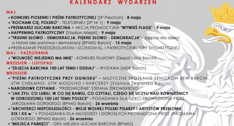 Plakat informacyjny dotyczący lokalnych obchodów 100.lecia odzyskania niepodległości w Gminie Barcin.